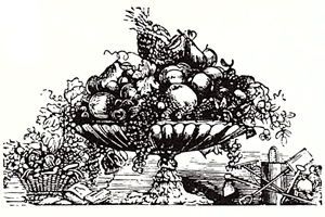 Fresh fruit displayed in a traditional compote